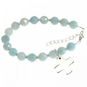 """Armband """"MARIE"""" Amazonit + Kreuz 925er Silber"""