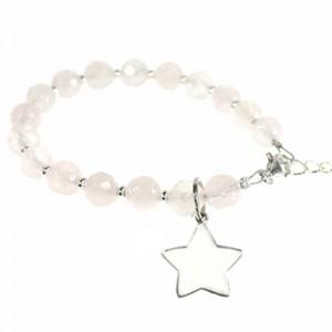 """Armband """"MARIE"""" Rosenquarz + Stern 925er Silber"""