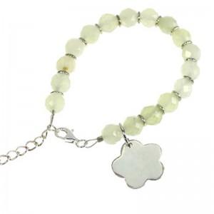 "Armband ""MARIE"" Jade + Blume 925er Silber"