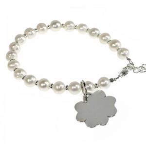 """Armband """"MARIE"""" Perlen + Kleeblatt 925er Silber"""