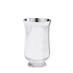 Kristall-Windlicht ANNA H17cm Feinsilberrand